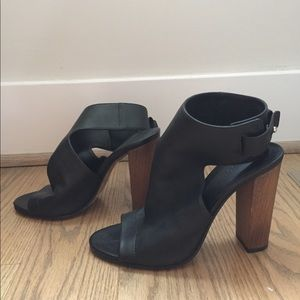 Black Leather Vince Heels